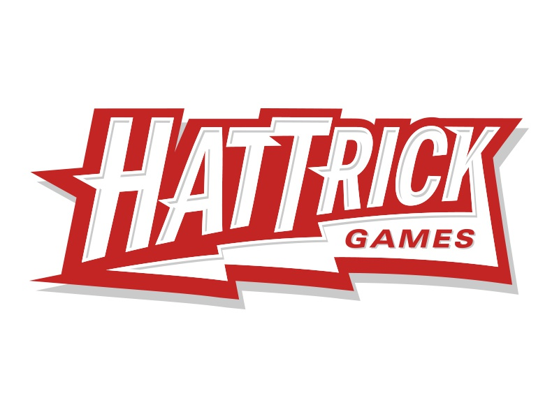 Hat Trick Logo board games cards dice custom type red lightning bolt