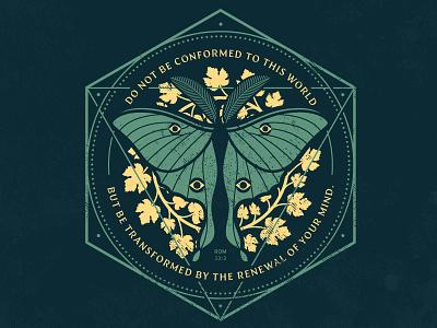 Be Transformed eyes eye geometric brush leaves moth bible verse vector badge illustration graphic design