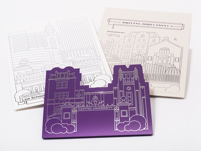 Capital University President Inauguration Invite print invitation design illustration