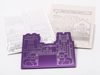 Capital University President Inauguration Invite print invitation design illustration