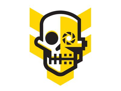F Dezine Logo yellow black thick line robotics initials f tactical military logo skull robot