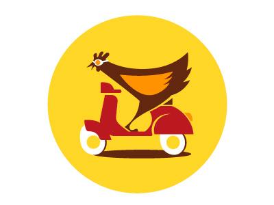 City Chickie Logo city chicky chicken logo vespa scooter