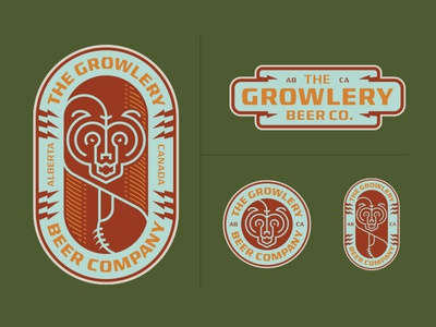 The Growlery Beer Co. craft beer brewery canada alberta patch outdoors illustration logo badge bear grizzly