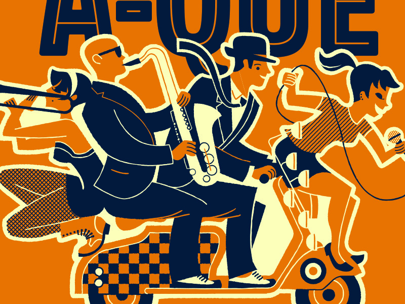Scoot-A-Que 21 blue illustration orange group music band ska lambretta vespa mod scooter