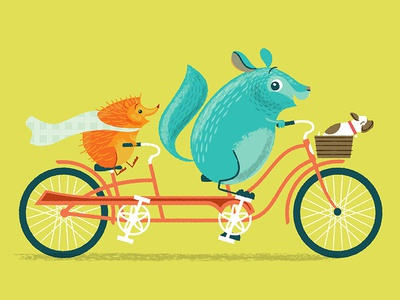 Chin Up, Chinchilla, Tandem ride! illustration kickstarter hedge hog beth stafford character tandem bicycle picture book childrens book chinchilla chin up