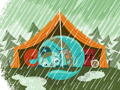Chin Up Chinchilla, Rainy Camping kickstarter texture brushes rain tent illustrator adobe chinchilla up chin chin up chinchilla