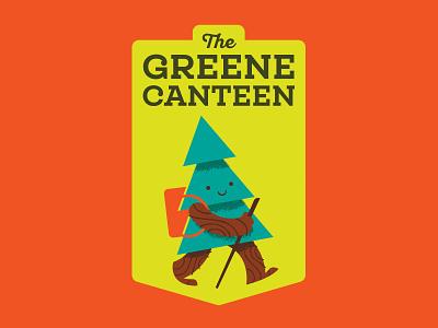 The Green Canteen restaurant badge hike tree logo