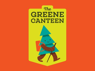 The Green Canteen restaurant badge hike tree logo