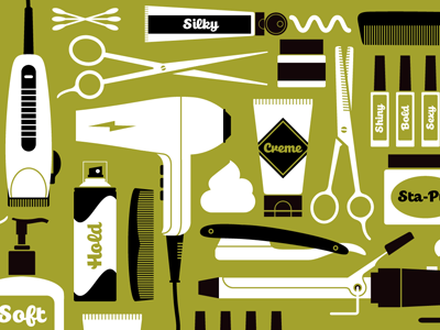 Salon Spaces illustrations salon tools hair dryer scissors razor nails