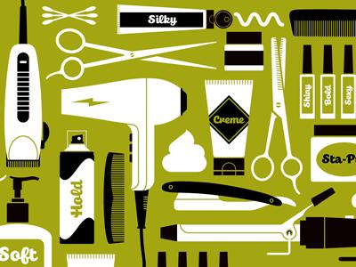 Salon Spaces illustrations salon tools hair dryer scissors razor nails