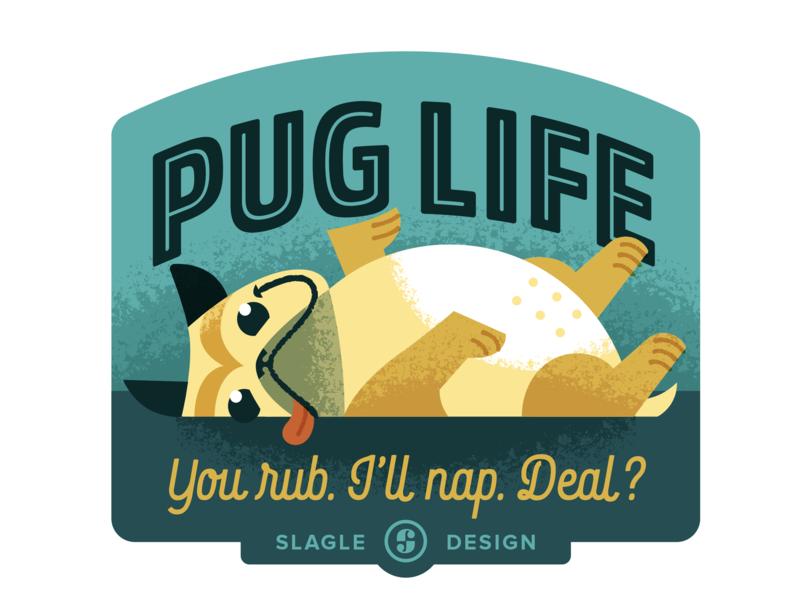 Pug Life Sticker sticker badge label dog pug brushes illustration illustrator
