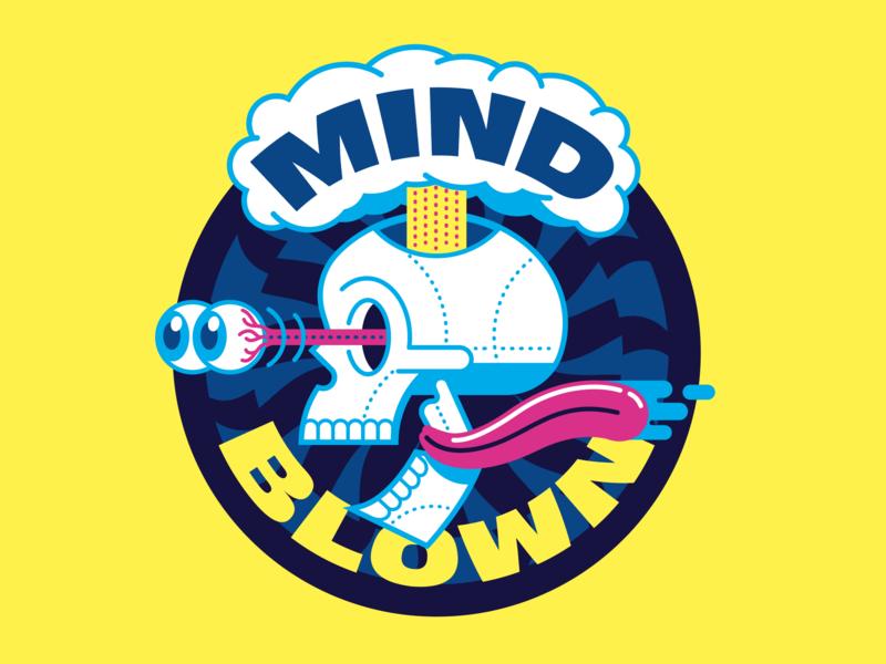 MIND BLOWN! illustrator illutration sticker badge 80s skull art skull