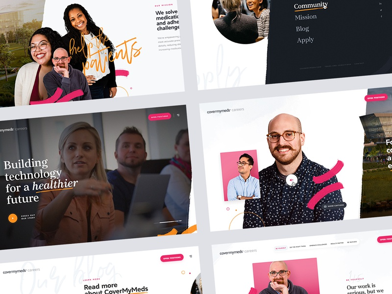 CoverMyMeds homepage corporate script dogstudio health healthcare employee orange pink colorful horizontal scroll cover my meds cmm