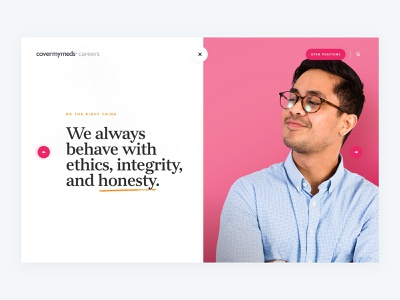 CoverMyMeds Core Values corporate script orange pink healthcare web design values core cover my meds