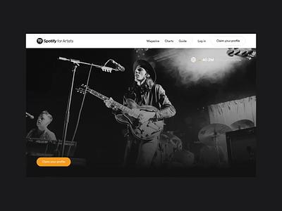 Spotify for Artists guitar hero type animation typo dark orange black web motion music artist