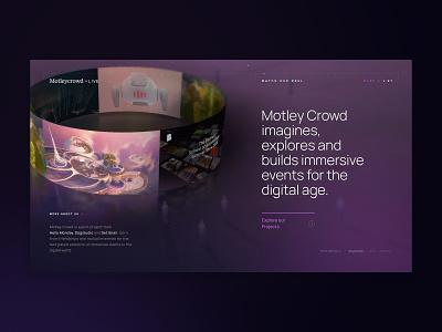 Motleycrowd.live dark portfolio case study 3d webgl web set snails hello monday dogstudio