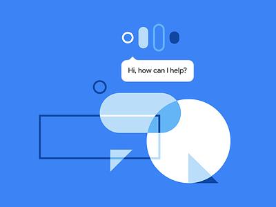 Hi, how can I help? material design material google shapes illustration
