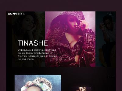 Sony artist music pink serif grid layout dark pitch sony