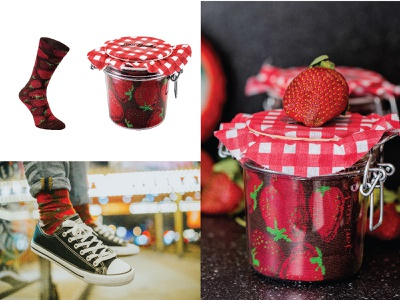 katarzynametrak, jar socks design, strawberry textile pattern pattern for socks product gift socks