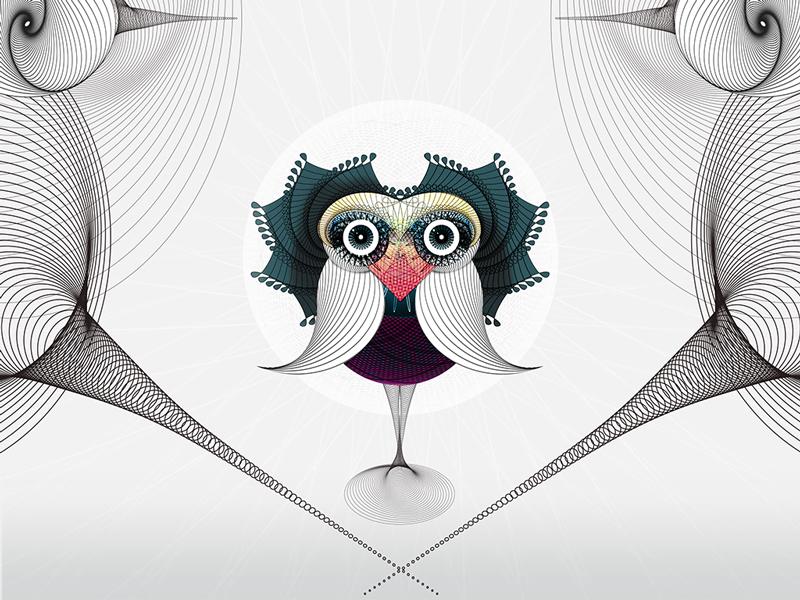 spirographic bird spirograph bird illustration