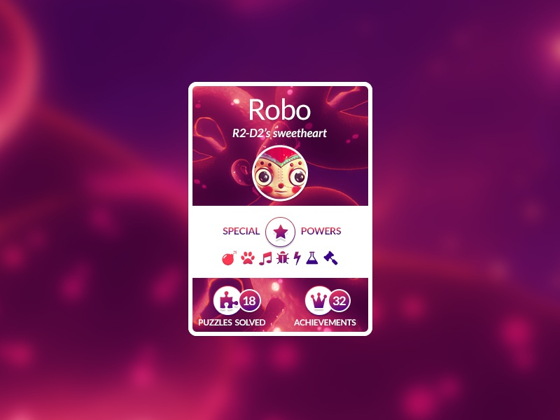 player card for robot game robot fontawesome gradient game ui