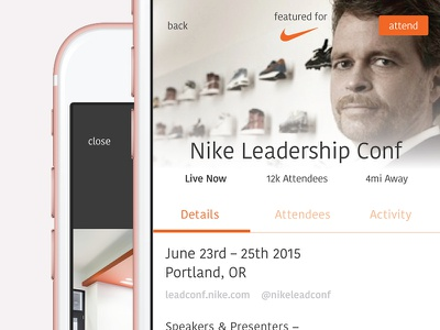 Event Engagement nike profile feed activity attendance app