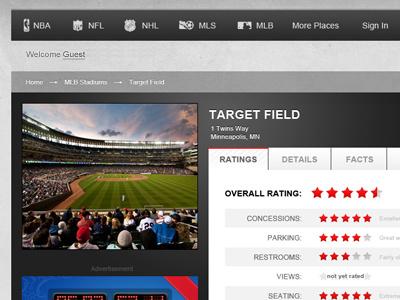 Sports Field Detail mlb sports target field minnesota navigation ratings reviews tabs crumbs