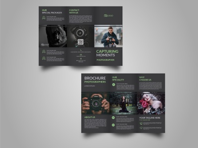 Event Photography Tri Fold Brochure Template black brochure trifold template trifold brochure trifold mockup trifold photograph photographer photography tri fold brochure tri fold