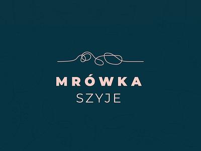 Mrowka szyje logo typography animal logotype diy sew handmade ant sewing vector logo design branding animation animated