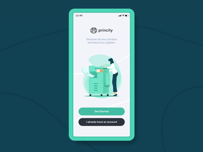 Illustrations for Princity app app animation branding application app iot printing printer print character illustration vector design animation animated