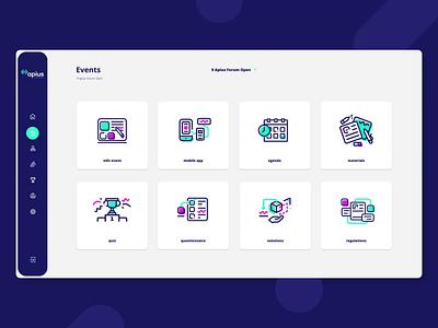 Icons for Apius app dashboard ui dashboad round menu event technologies technology minimal flat design web icon illustration pictogram app web app ui animation animated
