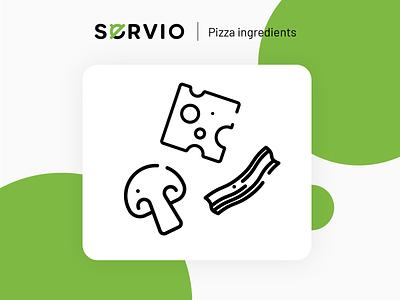 Servio icons dining dinner design illustration branding web ui icons set icons eating app restaurant icon food ingredients ingredient pizza