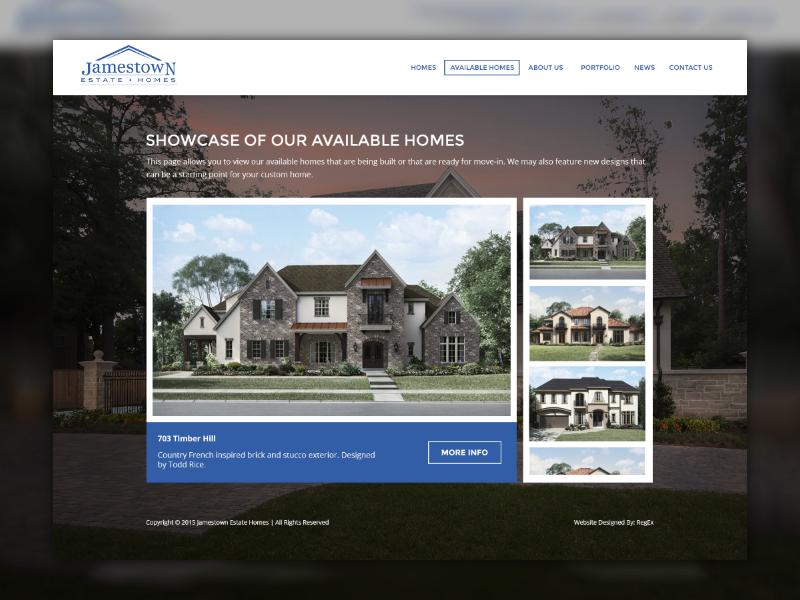 Jamestown Estate Homes realtor website hero real estate houses estates gallery builder home wip