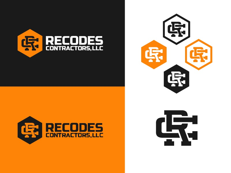 Recodes Contractor Logo white remodeling construction tough manly monogram hexagon black orange logo contractor
