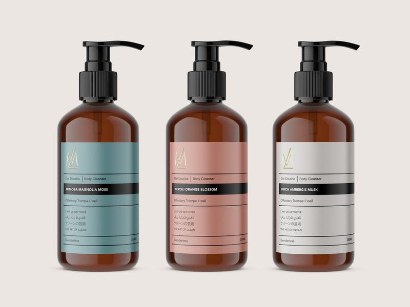 Label Design for ML fragrance cosmetic skincare care skin design packaging gel wash body label