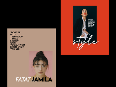 magazine posters vouge model girl flyer orange flat minimal typography branding design