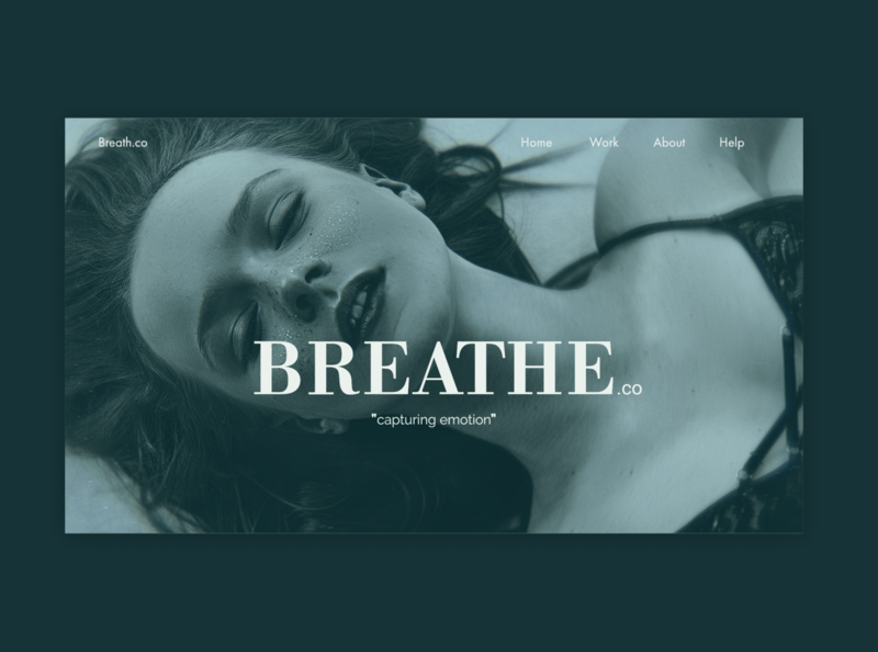 Breathe - A photography company. web photography model girl minimal typography website ux ui design