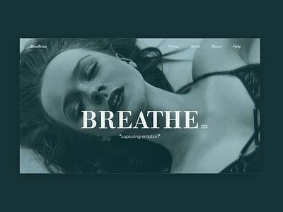 Breathe - A photography company. web photography model girl minimal typography website ux ui design