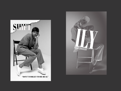 Poster Designs X  MagaziCoversne Covers X Album black album cover magazine poster flat girl illustration model typography design