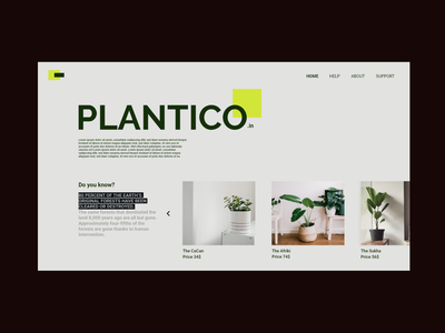 plantico - minimal home page design to buy plants web logo minimal website branding ux ui typography design