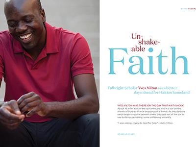 Unshakeable Faith magazine feature editorial