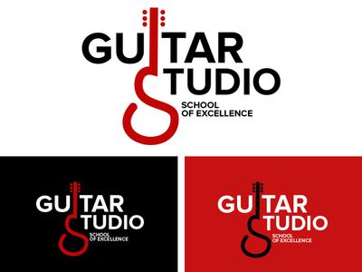 guitar studio guitar logo studio logo music logo design illustration typography minimalist logo vector illustrator branding