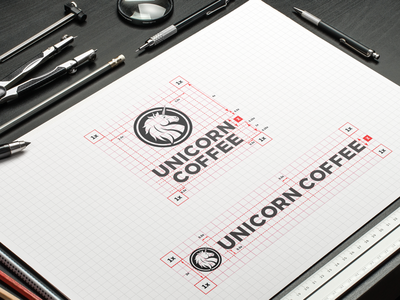 Unicorn Coffee logo positioning grid style styleguide brandbook brand identity branding corporate identity brand mark cafe coffee logo