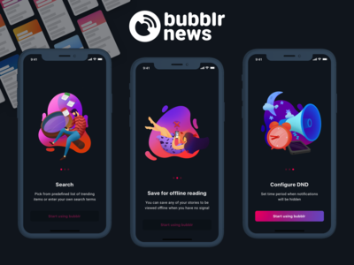 Bubblier News onboarding illustrations