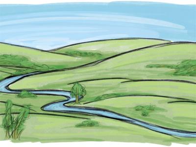 Open Hills concept doodle drawing landscape illustration nature background