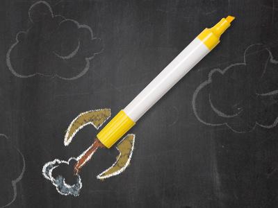 Highlighter becomes more cartoon doodle fun illustration rocket chalkboard clouds chalk highlighter banner
