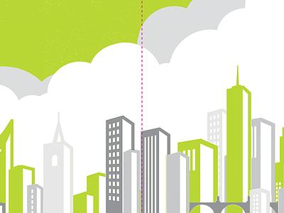 Skyline Preview green clouds illustration modern city vector vintage background branding building flat