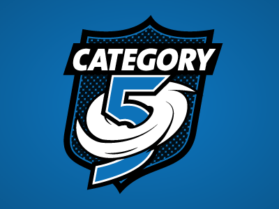 Team Category 5 mark sticker badge logo illustration shield game vector sports hurricane blue