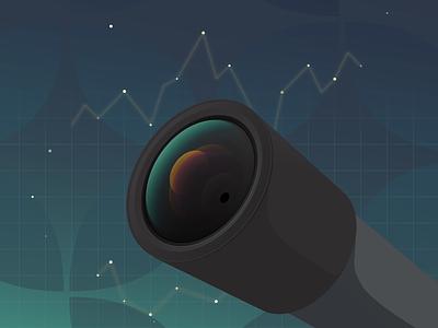 Lens Illustration reflection lens chart data star illustration space vector gradient telescope
