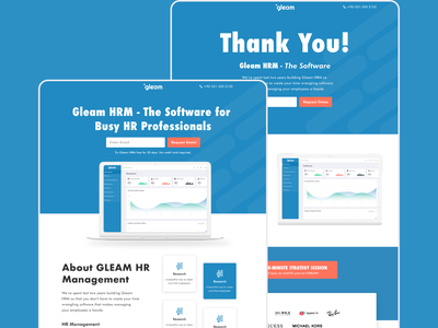 Designed Gleam-HRM Landing Pages